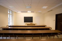 Empty classroom Stock Images