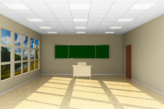 Empty classroom with blackboard. 3D illustration Royalty Free Stock Images