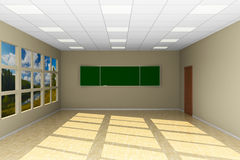 Empty classroom with blackboard. 3D illustration Stock Photos