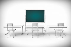 Empty classroom with blackboard and desk Stock Image