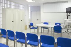 Empty classroom with chairs. Conference room. Back to school. Ho Stock Photos