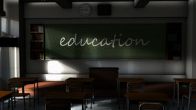 Empty classroom and Education text on the board. stock footage