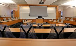 empty classroom with projector blank screen stock photo 63420520