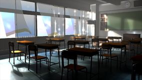 An empty classroom during summer, school, holiday.