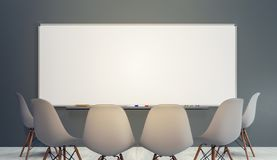 Free Empty Classroom With Chairs And Big Clean White Board Stock Photo - 140790180