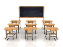 Empty classroom with wooden desks Royalty Free Stock Image