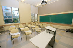 Empty Classrooms in college Stock Images