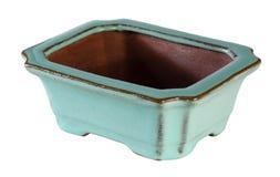 Empty clay bonsai pot on white background. Stock Photos
