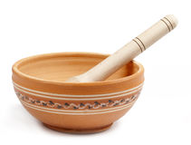 Empty clay bowl Stock Images