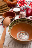 Empty clay bowl for borsch Royalty Free Stock Photo