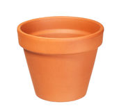 Empty clay flower pot isolated on white Royalty Free Stock Images