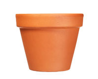 Empty clay flower pot isolated on white Stock Photos