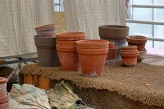Empty clay garden pots for plants