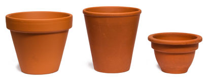 Empty clay plant pots Royalty Free Stock Images
