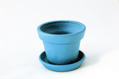Empty clay pot. Empty blue clay pot over white Stock Photo