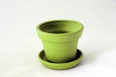 Empty clay pot. Empty green clay pot over white Stock Image