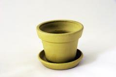 Empty clay pot. Empty green clay pot over white Stock Photos