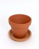 Empty Clay Pot. Over white stock image