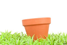 Empty Clay Pot in the Grass Stock Images