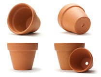 Unused Clay Pot Over White Stock Images