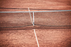 Empty Clay Tennis Court and Net Stock Photo