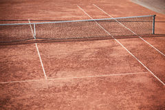 Empty Clay Tennis Court and Net Stock Image