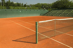 Empty clay tennis court. Empty red clay tennis court Stock Photo