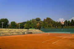 Empty clay tennis court. Empty red clay tennis court Stock Photos