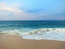 Empty clean beach with palms, Mirissa, Sri Lanka Stock Photography
