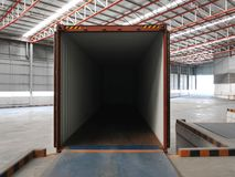 An empty 40 feet container ready for loading at the warehouse Royalty Free Stock Photo