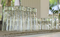 Empty clean drinking glasses Royalty Free Stock Image