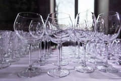 Empty clean drinking wine glasses. Row of empty wine glasses on bar counter.  Royalty Free Stock Photos
