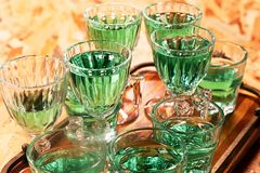 Empty and clean glasses. And drinks Royalty Free Stock Photos
