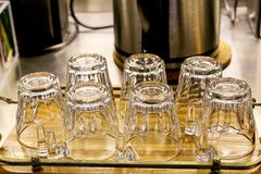 Empty and clean glasses. And drinks Stock Images