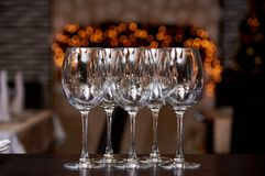 Empty clean glasses with reflection royalty free stock image