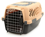 Empty Clean Pet Carrier Over White Stock Images