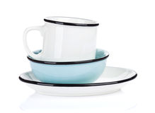 Empty clean plate, bowl and cup Stock Images