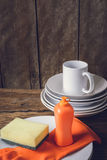Empty clean plates and cup with dishwashing liquid, sponges, rub Stock Image