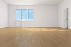 Empty clean room in apartment. Empty clean room with parquet floor in apartment stock illustration