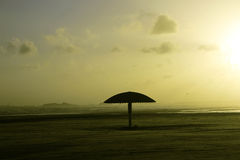 Empty and clean umbrella beach of Clifton during sunset Stock Image