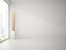 Empty clean white  room with branches decor 3D rendering Stock Image