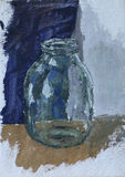 Empty clear glass jar. Original oil painting empty clear glass jar on canvas. Impasto artwork. Impressionism art Royalty Free Stock Photography