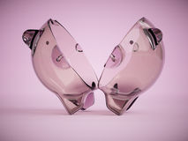 Empty clear glass piggy bank cut in half 3d illustration Royalty Free Stock Images