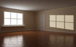 Empty clear room, white window and door. Empty clear room, wooden floor, white window and door, highlight on the wall, 3d illustration Royalty Free Stock Photos