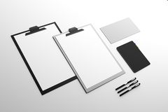 Empty clipboard and supplies. On white background. Document concept. Mock up, 3D Rendering Royalty Free Stock Image