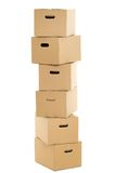 Empty and closed boxes on the white background Stock Photo