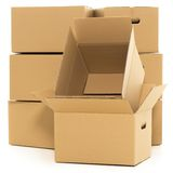 Empty and closed boxes on the white background Stock Image