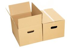 Empty and closed boxes on the white background Royalty Free Stock Photos