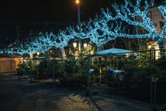 Empty closed christmas market stalls in Strasbourg after attacks. Closed Christmas Market stall chalet selling Christmas Trees after terrorist attack of Cherif royalty free stock photo