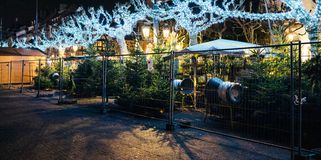 Empty closed christmas market stalls in Strasbourg after attacks. Closed Christmas Market stall chalet selling Christmas Trees after terrorist attack of Cherif royalty free stock images